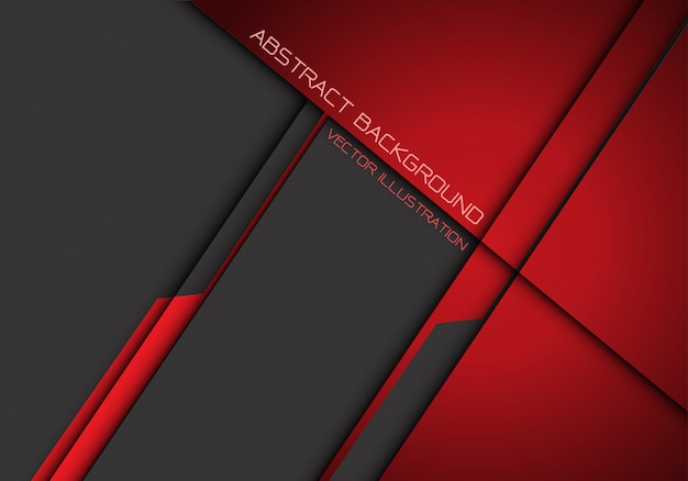 Abstrait futuriste de chevauchement métallisé gris rouge foncé Vecteur Premium