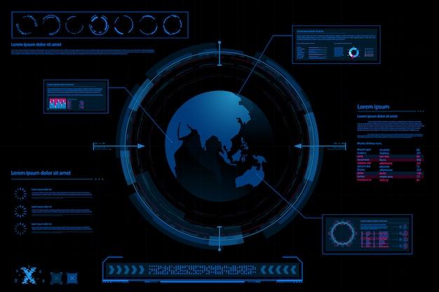 Abstrait futuriste. fond de concept de thème futur. tableau de bord de données, graphique, concept numérique de panneau Vecteur Premium