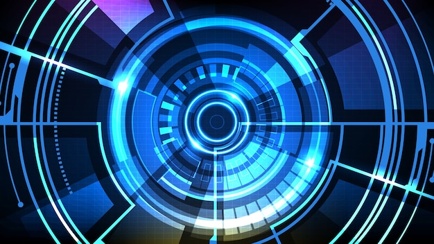 Abstrait Futuriste De L'interface De Cercle Sci Fi Frame Collection Hud Ui Vecteur Premium