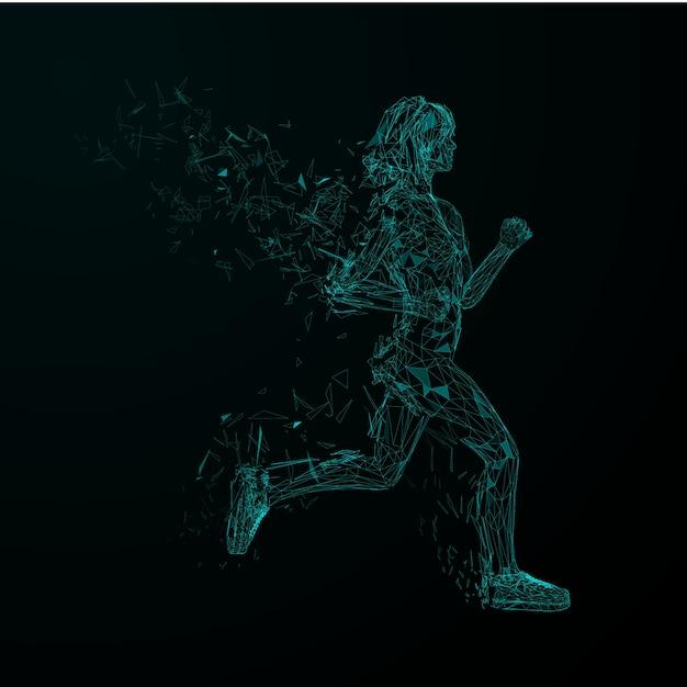 Abstrait futuriste. modèle de couverture. filles de jogging low blue blue avec des ailes de particules triangulaires. Vecteur Premium