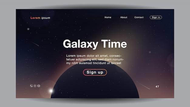 Abstrait galaxie time couleur de lumière pour la page d'accueil Vecteur Premium