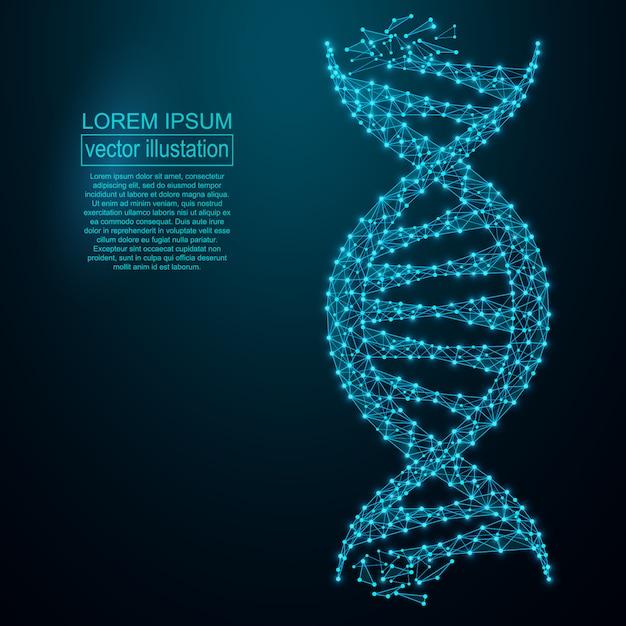 Abstrait de génie génétique polygonale adn. Vecteur Premium