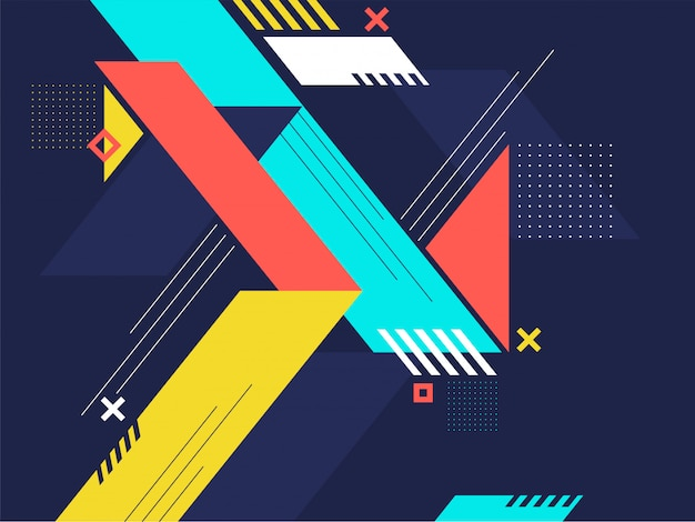 Abstrait géométrique coloré. Vecteur Premium