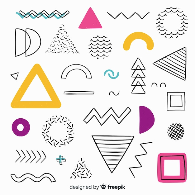 Abstrait géométrique dessiné à la main Vecteur gratuit