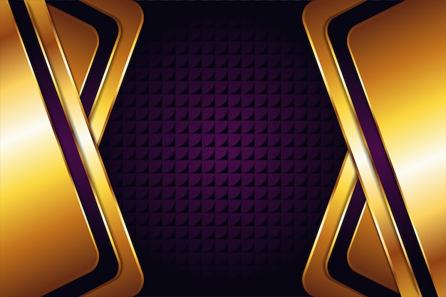Abstrait Géométrique Avec Fond Or Violet Et Transparence Flèche Symbole Pattren. L'espace Hexagonal Semble Au Milieu. Effet Or Brillant Pour La Conception Des éléments. Vecteur Premium