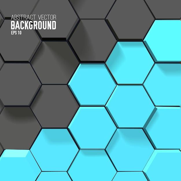 Abstrait Géométrique Avec Hexagones Gris Et Bleus Vecteur gratuit