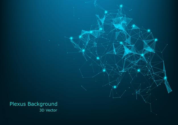 Abstrait géométrique avec ligne connectée et points. visualisation big data. vecteur de connexion réseau global. Vecteur Premium