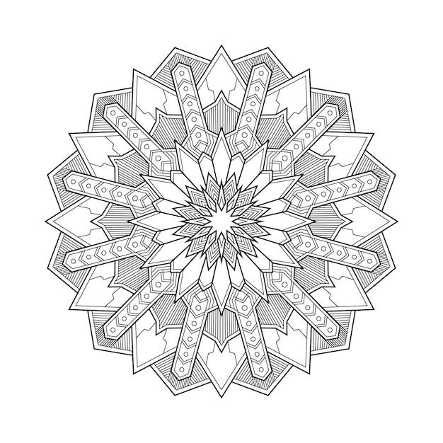 Abstrait Géométrique Mandala Arabesque Illustration De Livre Page à Colorier. T-shirt . Fond D'écran Floral Vecteur Premium
