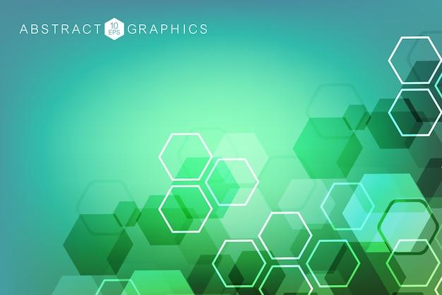 Abstrait Hexagonal. Visualisation Big Data. Connexion Au Réseau Mondial. Médical, Technologie, Formation Scientifique. Vecteur Premium