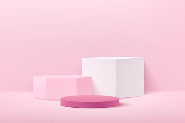 Abstrait Hexagone De Cube Rose Clair Et Affichage Rond Pour Produit Sur Site Web Moderne. Vecteur Premium