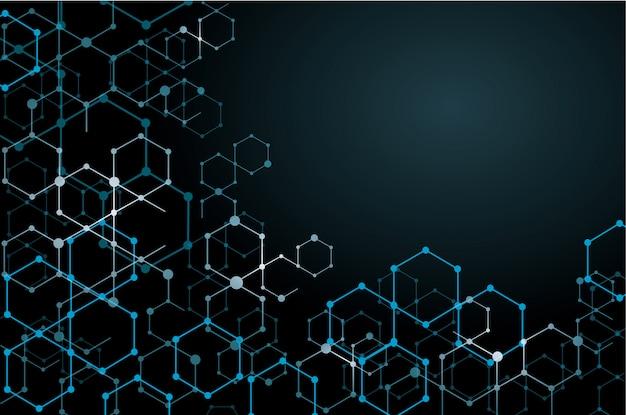 Abstrait hexagone et espace pour écrire Vecteur Premium