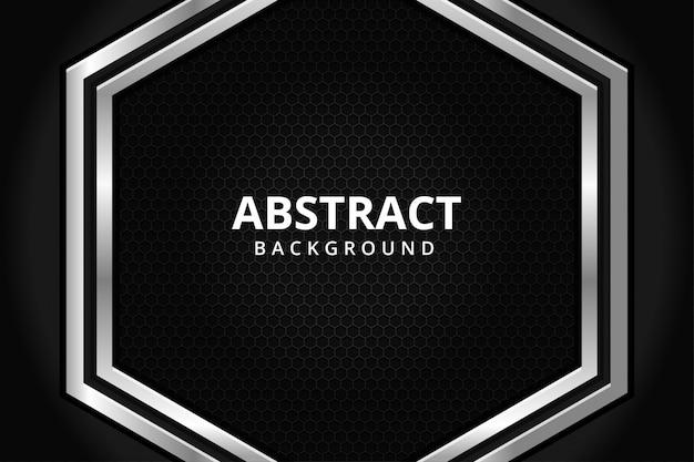 Abstrait Hexagone Métal Acier Fond D'écran Futuriste Moderne En Noir Et Blanc Vecteur Premium