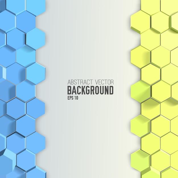Abstrait Avec Hexagones Bleus Et Jaunes Vecteur gratuit