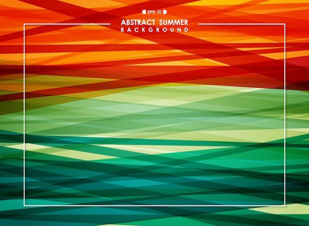 Abstrait de la ligne de rayures colorées de l'été. Vecteur Premium