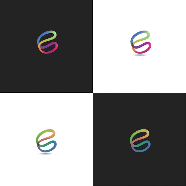 Abstrait c logo design coloré Vecteur Premium