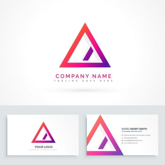Abstrait Logo Triangle Avec Une Ligne Diagonale Et Cartes De Visite
