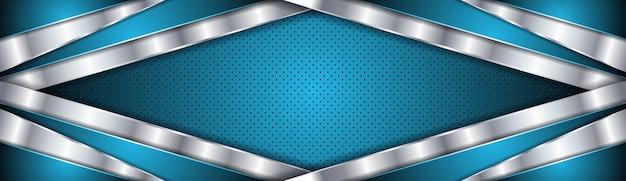 Abstrait Avec Luxe Couleur Bleu Et Argent Vecteur Premium