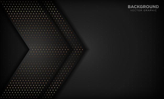 Abstrait De Luxe Noir Avec Des Couches De Chevauchement. Texture Avec élément De Point De Paillettes D'or. Vecteur Premium