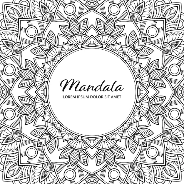 Abstrait Mandala Arabesque Coloriage Adulte Livre Illustration De La Couverture De L'album T-shirt . Fond D'écran Floral. Vecteur Premium