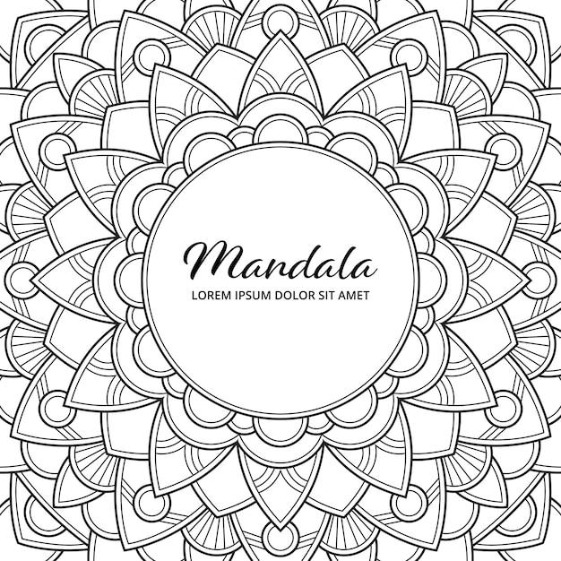Abstrait Mandala Arabesque Coloriage Adulte Livre Illustration De La Couverture De L'album T-shirt . Fond D'écran Floral. Vecteur Premium