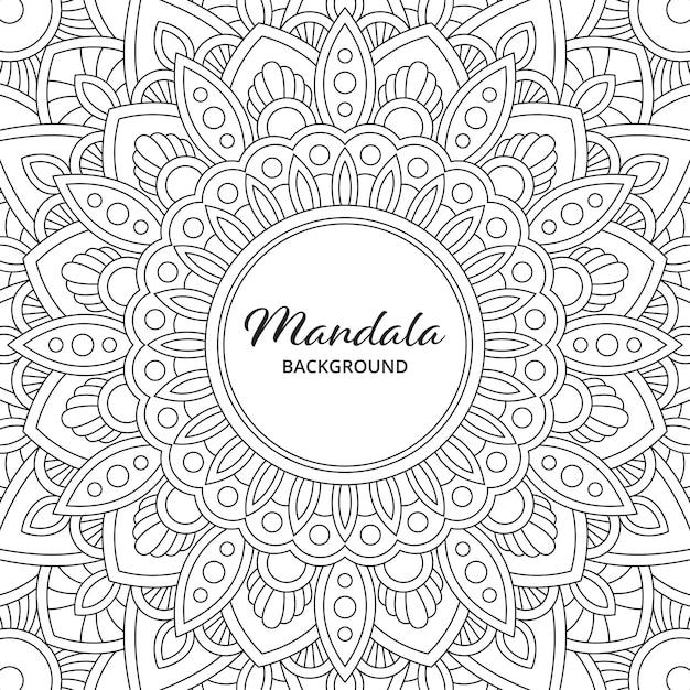 Abstrait Mandala Arabesque Illustration De Livre Page à Colorier. T-shirt . Fond D'écran Floral Vecteur Premium