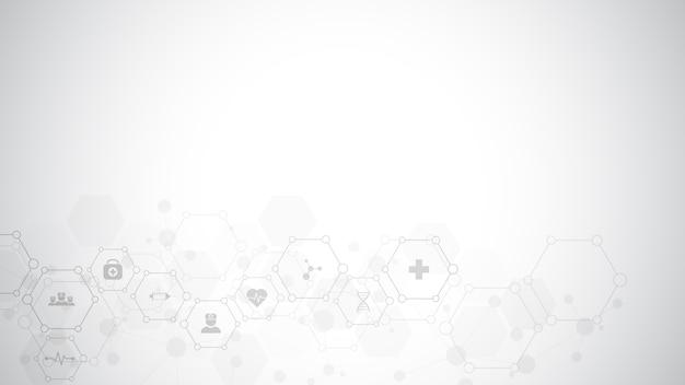 Abstrait Médical Avec Des Icônes Et Des Symboles Plats. Conception De Modèle Avec Concept Et Idée Pour La Technologie De La Santé, La Médecine De L'innovation, La Santé, La Science Et La Recherche. Vecteur Premium