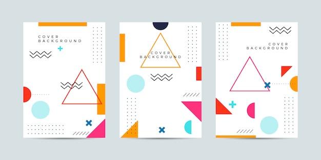 Abstrait memphis cover Vecteur Premium
