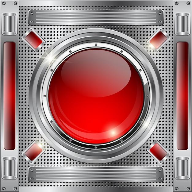 Abstrait métallique avec bouton de verre rouge Vecteur Premium