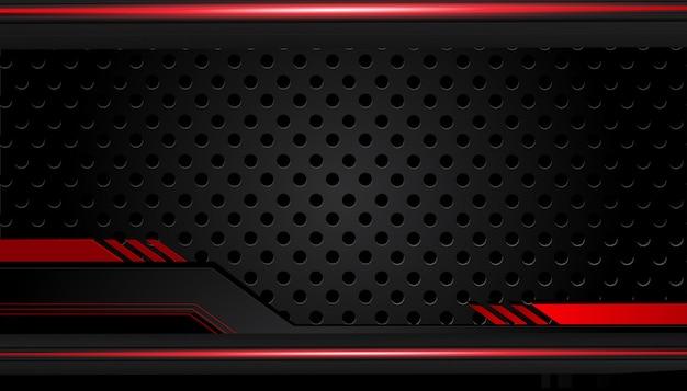 Abstrait métallique rouge cadre noir mise en page design tech innovation concept fond Vecteur Premium