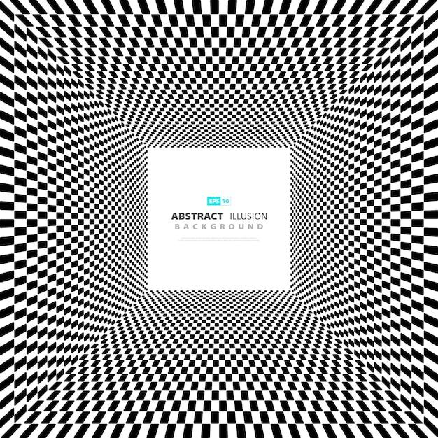 Abstrait minimal illusion carrée noir et blanc Vecteur Premium