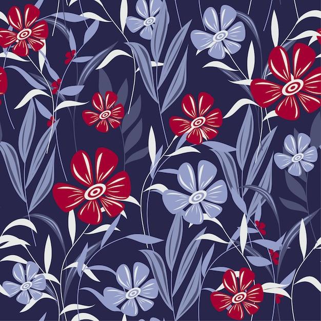 Abstrait modèle sans couture avec des feuilles tropicales colorées et des fleurs sur violet Vecteur Premium