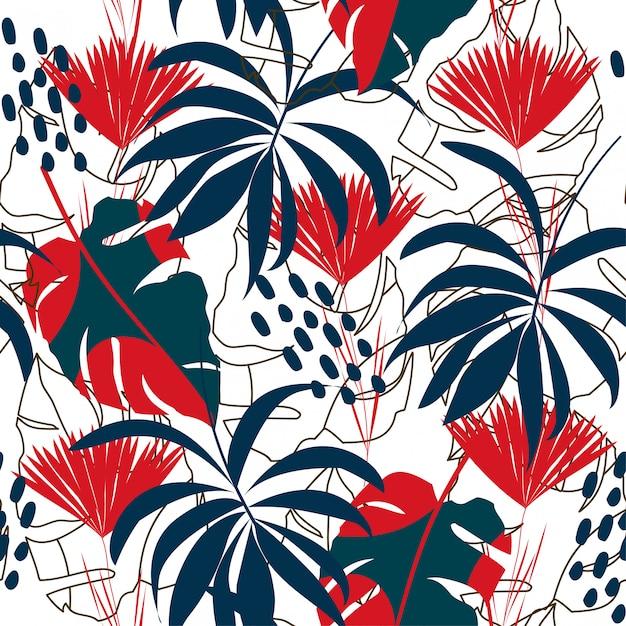 Abstrait modèle sans couture avec des feuilles tropicales colorées et des plantes sur fond blanc Vecteur Premium