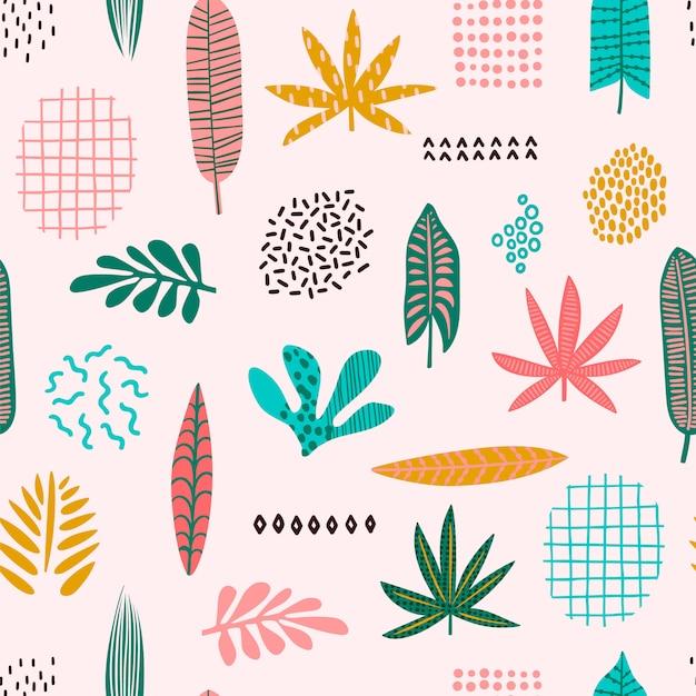 Abstrait modèle sans couture avec des feuilles tropicales. main dessiner la texture. Vecteur Premium