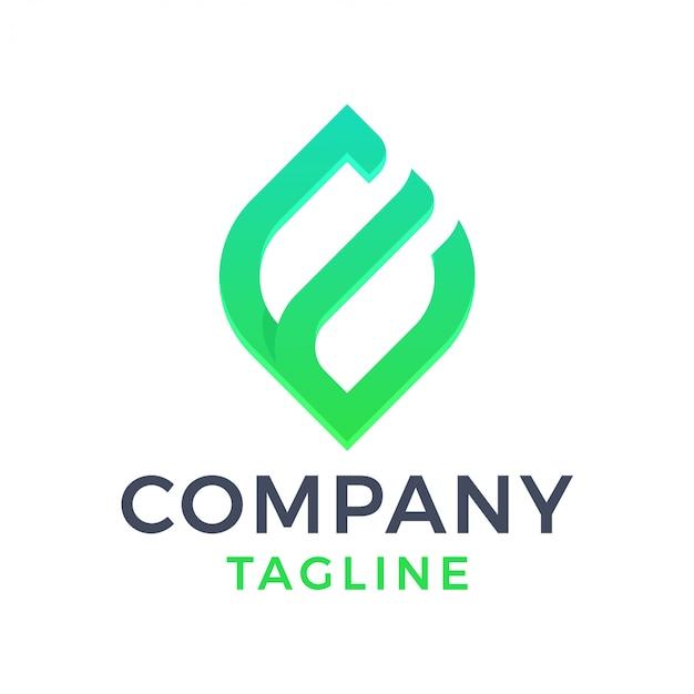Abstrait Moderne Feuille Lettre E Logo Dégradé Vecteur Premium