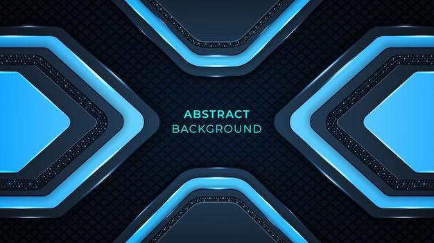 Abstrait Moderne Avec Des Formes De Couleur Cyan, Des Motifs, Des Lumières, Un Effet De Lueur Sur Un Fond Bleu Foncé Vecteur Premium