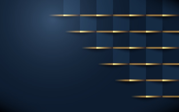 Abstrait motif géométrique 3d bleu foncé avec de l'or Vecteur Premium