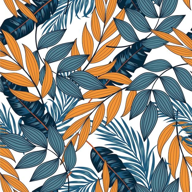 Abstrait Motif Tropical Sans Couture Avec Des Feuilles Lumineuses Et Des Plantes Sur Fond Clair Vecteur Premium