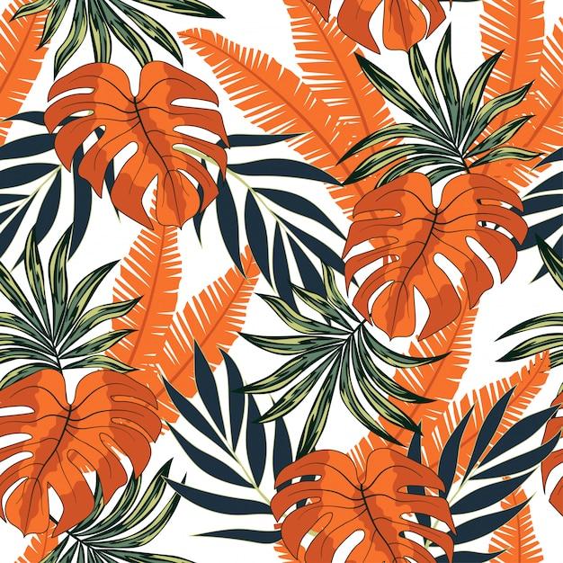 Abstrait Motif Tropical Sans Soudure Avec Des Plantes Lumineuses Et Des Feuilles Sur Un Blanc Vecteur Premium