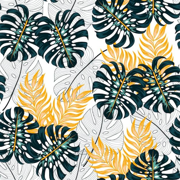 Abstrait Motif Tropical Sans Soudure Avec Des Plantes Lumineuses Et Des Feuilles Vecteur Premium