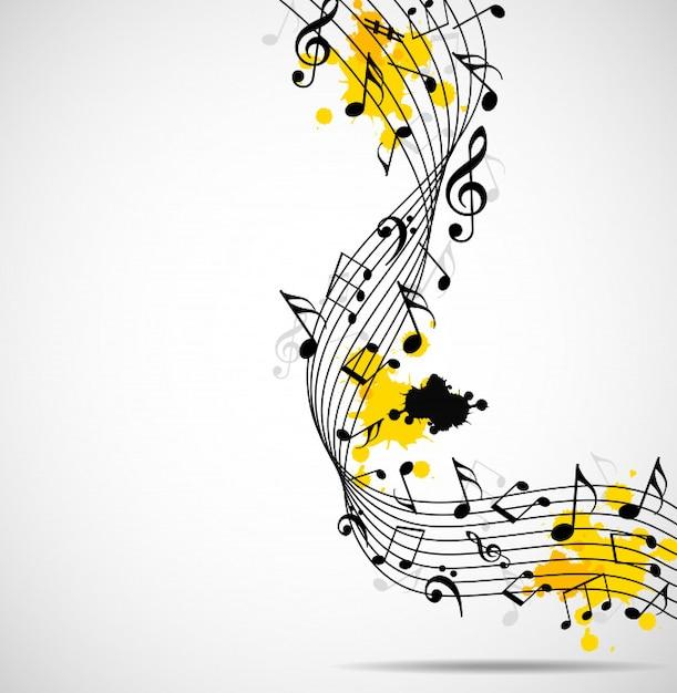 Abstrait musical avec des notes Vecteur Premium