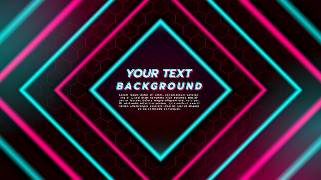 Abstrait avec néon en diamant carré. musique de danse électronique et concept futuriste. Vecteur Premium