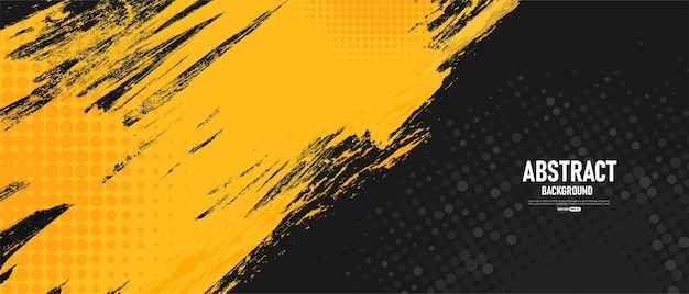 Abstrait Noir Et Jaune Vecteur Premium