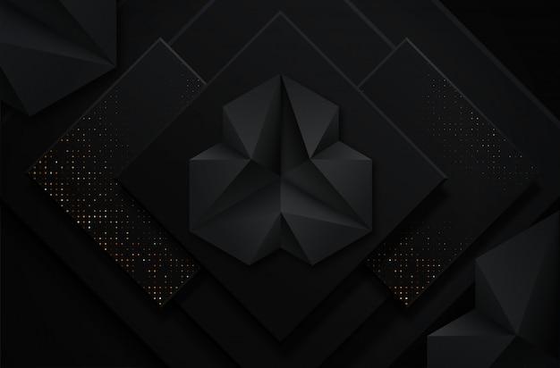 Abstrait noir et or Vecteur Premium