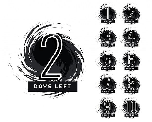 Abstrait nombre de jours restants label grunge Vecteur gratuit