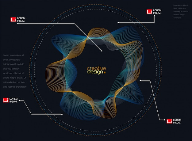Abstrait Avec Des Ondes Sonores De Particules Dynamiques Vecteur Premium