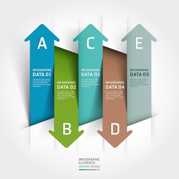Abstrait papier coupé flèche infographique. Vecteur Premium