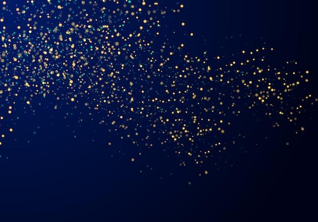 Abstrait de particules bleu paillettes d'or Vecteur Premium