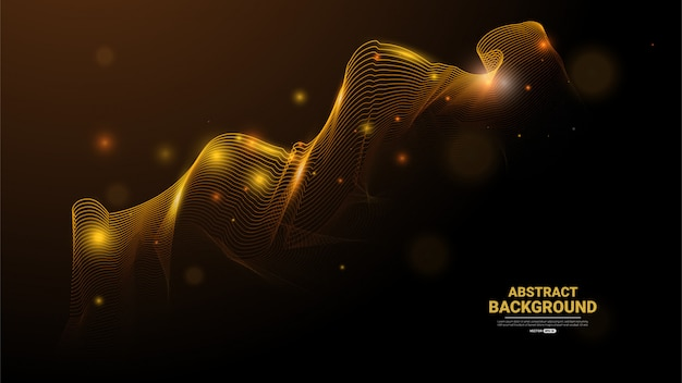 Abstrait avec des particules dorées Vecteur Premium