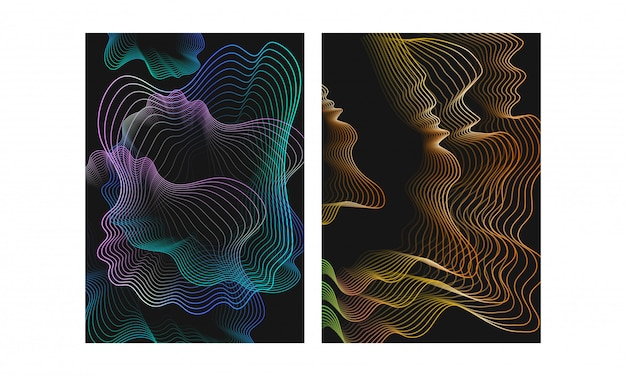 Abstrait de particules de mouvement vague numérique de style différent numérique Vecteur Premium