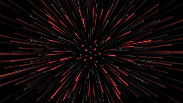 Abstrait avec des particules en rouge et noir s'étendant à grande vitesse. Vecteur Premium